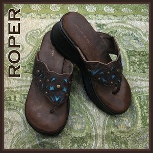 Roper Brown Leather Turquoise Underlay Wedge 8